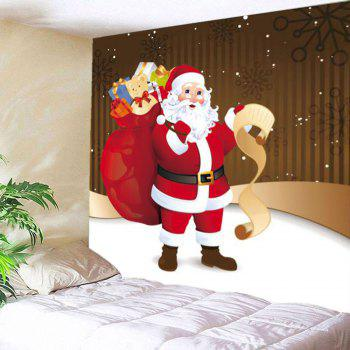 Santa Claus With Gifts Patterned Hanging Wall Tapestry - COLORFUL W79 INCH * L71 INCH