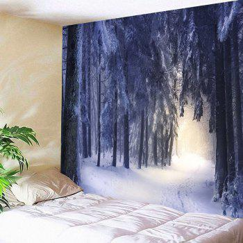 Snow Covering Forest Patterned Wall Art Hanging Tapestry - WHITE W79 INCH * L71 INCH