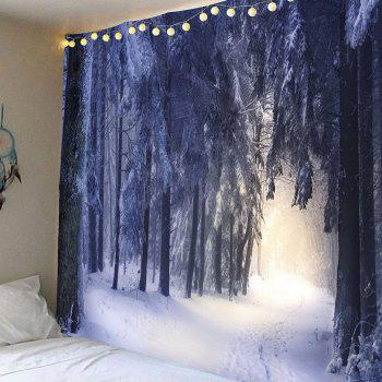 Snow Covering Forest Patterned Wall Art Hanging Tapestry - WHITE WHITE