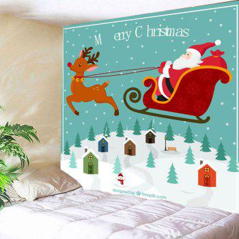 Wall Decor Christmas Carriage Pattern Hanging Tapestry - COLORFUL COLORFUL