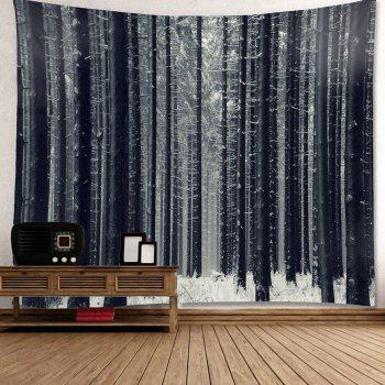 Wall Art Snowfield Forest Patterned Waterproof Hanging Tapestry - GRAY GRAY