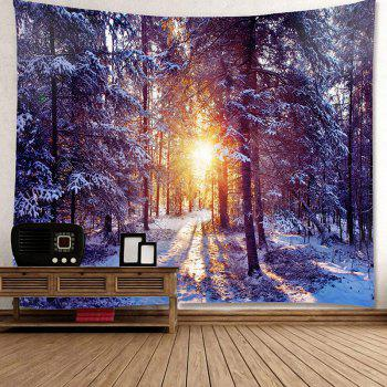 Morning Sunlight Snow Forest Patterned Wall Decor Tapestry - COLORFUL COLORFUL