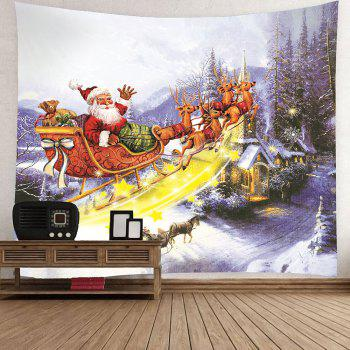 Christmas Carriage and Castle Printed Waterproof Wall Art Tapestry - COLORFUL COLORFUL