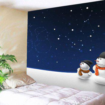 Wall Hanging Christmas Starry Sky Snowman Pattern Tapestry - DEEP BLUE DEEP BLUE