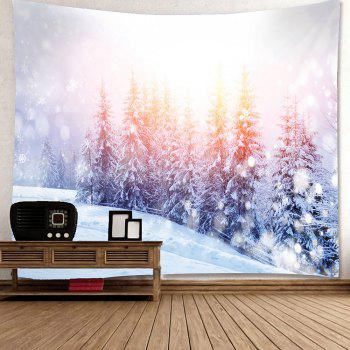 Sunlight Snowfield Forest Patterned Wall Waterproof Tapestry - W79 INCH * L71 INCH W79 INCH * L71 INCH