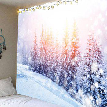 Sunlight Snowfield Forest Patterned Wall Waterproof Tapestry - WHITE W79 INCH * L71 INCH