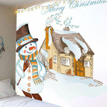Waterproof Christmas Snowman and House Pattern Wall Hanging Tapestry - COLORFUL COLORFUL