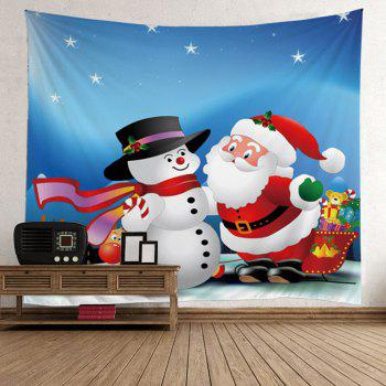 Waterproof Santa Claus and Snowman Pattern Christmas Wall Hanging Tapestry - COLORFUL COLORFUL