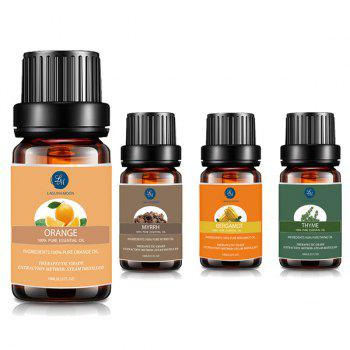 4 Bottles Myrrh Orange Thyme Bergamot Essential Oil - MULTI multicolor
