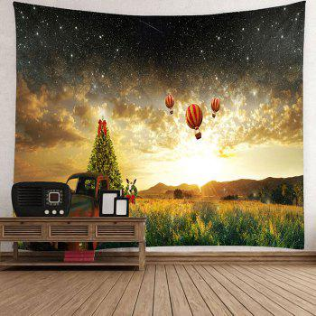 Waterproof Galaxy and Hot Air Balloon Pattern Wall Hanging Tapestry - W79 INCH * L71 INCH W79 INCH * L71 INCH