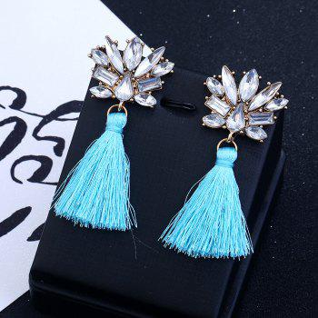 Rhinestone Alloy Tassel Drop Earrings -  BLUE