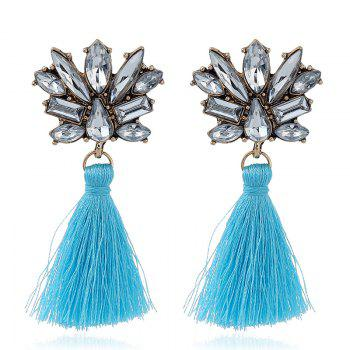 Rhinestone Alloy Tassel Drop Earrings - BLUE BLUE
