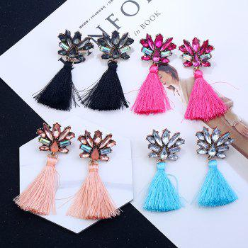 Rhinestone Alloy Tassel Drop Earrings - PINK