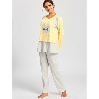 Rabbits Print Nursing Cotton PJ Set - LIGHT YELLOW L