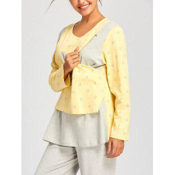 Rabbits Print Nursing Cotton PJ Set - LIGHT YELLOW XL