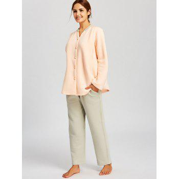 Button Up Cotton Nursing Pajamas Set - ORANGEPINK M