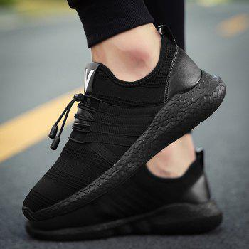 Mesh Tie Up Athletic Shoes - BLACK 44