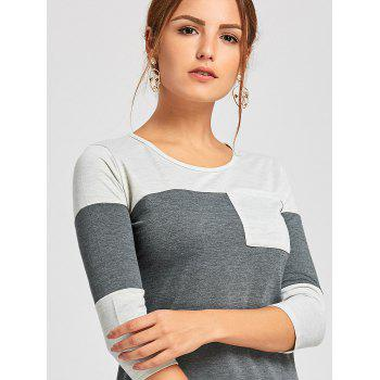 Color Block Tunic T Shirt - DEEP GRAY DEEP GRAY