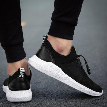 Mesh Tie Up Athletic Shoes - BLACK WHITE 43