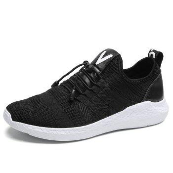 Mesh Tie Up Athletic Shoes - BLACK WHITE 41