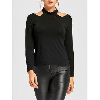 Cut Out High Neck T-shirt - BLACK BLACK