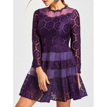 Lace Mini A Line Dress - PURPLE 2XL