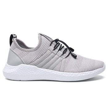 Mesh Tie Up Athletic Shoes - GRAY 41