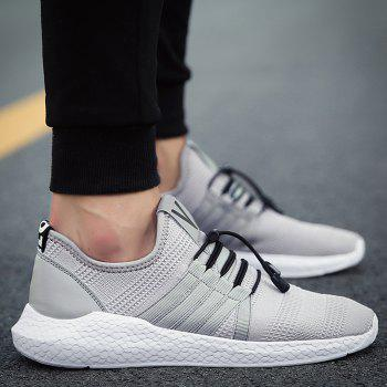 Mesh Tie Up Athletic Shoes - GRAY 42
