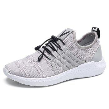 Mesh Tie Up Athletic Shoes - GRAY 39