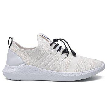 Mesh Tie Up Athletic Shoes - WHITE 44