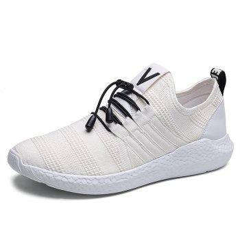 Mesh Tie Up Athletic Shoes - WHITE 42