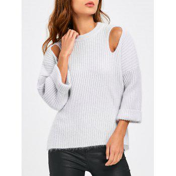 Cutout Side Slit Drop Shoulder Ribbed Sweater