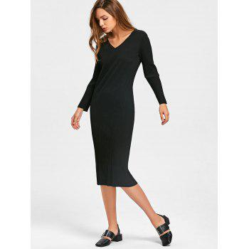 Long Sleeve Cut Out Ribbed Dress - M M