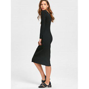 Long Sleeve Cut Out Ribbed Dress - XL XL