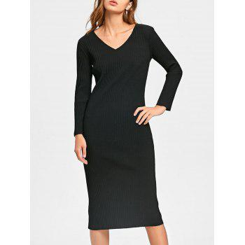 Long Sleeve Cut Out Ribbed Dress - BLACK BLACK