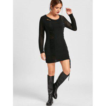 Distressed Lace Up Jumper Dress - BLACK BLACK