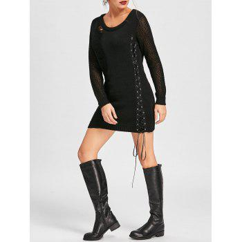 Distressed Lace Up Jumper Dress - BLACK M