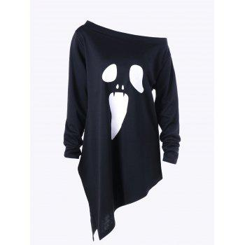 Halloween Plus Size Skew Neck Asymmetric Graphic Sweatshirt