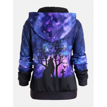 Halloween Galaxy Wolf Printed Drawstring Hoodie - COLORMIX M