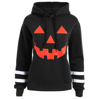 Plus Size Drop Shoulder Flocking Halloween Pumpkin Hoodie