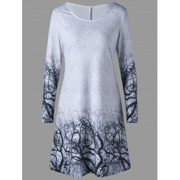 Branches Print Marled Tee Dress - GRAY GRAY