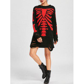 Halloween Skeleton Distressed Jumper Dress