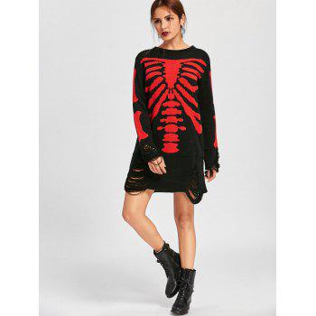 Halloween Skeleton Distressed Jumper Dress - BLACK RED 2XL