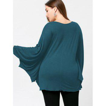 Plus Size Halloween Batwing T-shirt - WATER BLUE 4XL