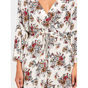 Flare Sleeve Floral Surplice Dress - COLORMIX L