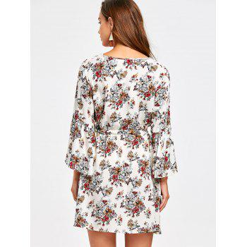 Flare Sleeve Floral Surplice Dress - COLORMIX COLORMIX