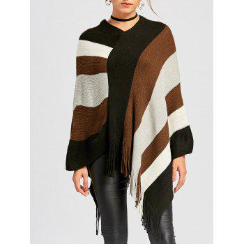 Color Block Asymmetric Knit Cape - BLACK BLACK