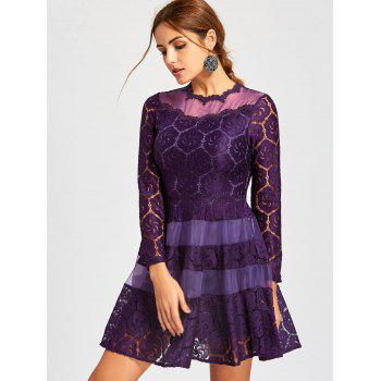 Lace Mini A Line Dress - PURPLE M