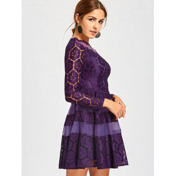 Lace Mini A Line Dress - PURPLE PURPLE