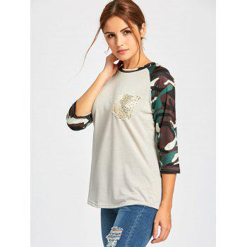 Raglan Sleeve Camo Sequin Pocket Tee - LIGHT GRAY LIGHT GRAY
